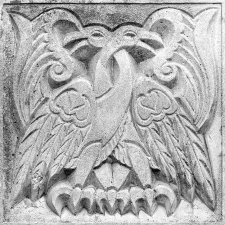 two fairy fire birds, stone bas-relief on the wall
