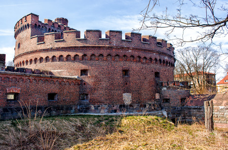 old abandoned fortress on sunny spring day