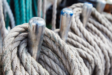 ship rigging. ropes laid near the masts outdoor closeup Stok Fotoğraf