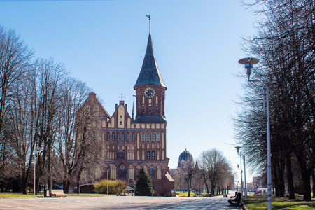 cathedral of our lady and saint adalbert in kaliningrad russia on spring sunny day