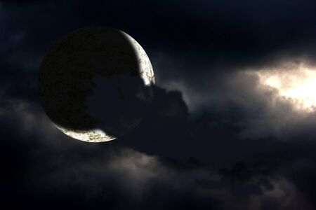 bright moon behind the dark cloud on the night