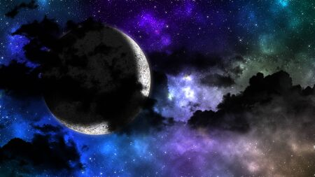 bright moon behind the dark cloud on colored sky with stars in night Archivio Fotografico