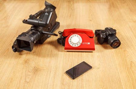 smartphone as a universal device - phone, camera, camcorderё conceptual photo