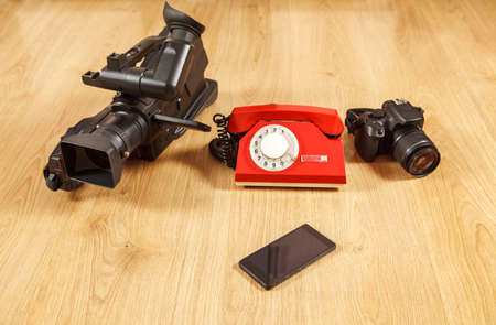 smartphone as a universal device - phone, camera, camcorderё conceptual photo Stock Photo