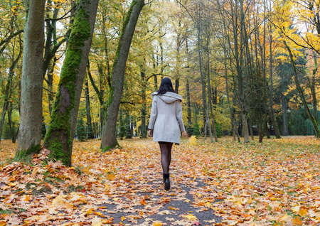 young girl in a gray coat walking on an alley in a city park on an autumn day. back view