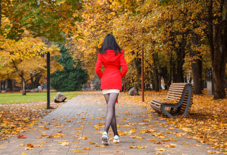 young girl in ared coat walking on an alley in a city park on an autumn day. back view