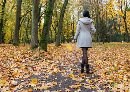 young girl in a gray coat standing on an alley in a city park on an autumn day. back view