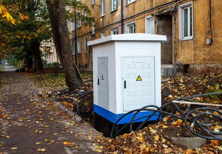 new modern metal box on city street