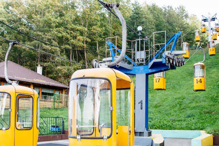 cable car in the resort town on sunny autumn day Standard-Bild