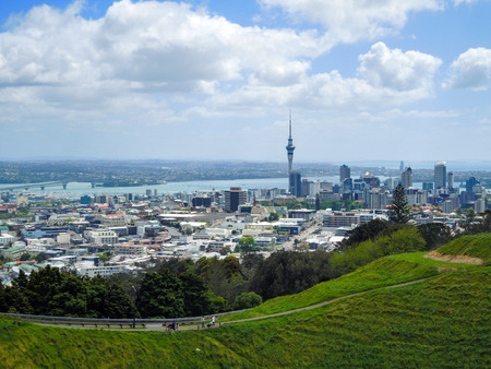Auckland view with Sky Tower from the volcano, Volcanic crater, Mt Eden Domain, New Zealand North Island Imagens