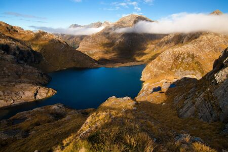 Wild and Spectacular Mountain Blue Lake View, Routeburn Track hikking track great walk, New Zealand