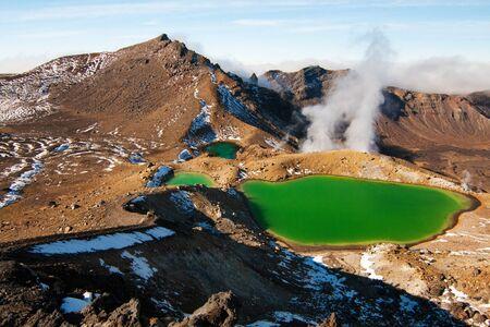 Emerald lake Tongariro National Park Alpine Crossing New Zealand Stock Photo