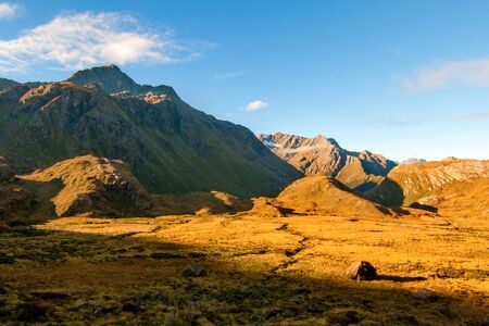 Mountain landscape of Southern Alps on the evening light. Routeburn Track Great Walk in New Zealand