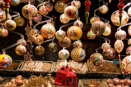 Beautiful golden Christmas ball decorations, luxury hand made selection of different traditional styles and vintage designs, traditional Christian European Christmas tree balls Stock Photo