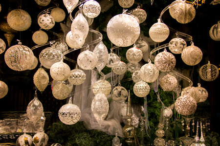 Beautiful Christmas decorations display window, elegant Christmas tree balls and decors, wide variety of styles from the traditional and vintage to modern and unique, hand crafted designs Stock Photo