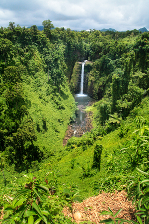 Sopoaga Tropical Waterfall in exotic jungle inland of Western Samoa, Upolu Island, South Pacific Ocean Stock Photo