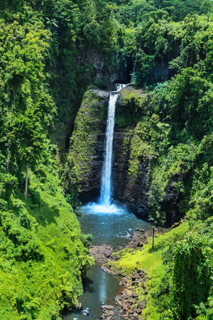 Awesome view of Sopoaga Tropical Waterfall Samoa close up, exotic travel tourist destination at Upolu Island, South Pacific, Oceania, Polynesian paradise