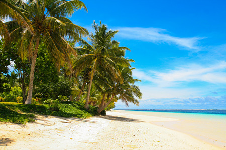 White sandy beach paradise, tropical palm trees and turquoise ocean lagoon, Manase Beach Savai'i Island in Samoa