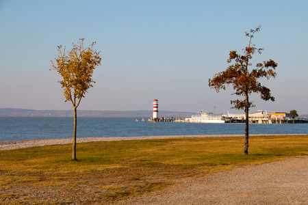 Two trees with autumn leaves on coast and scenery with lake and lighthouse in distance, Podersdorf am See, town in Austria, Neusiedl lake