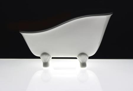 white bath old fashion style on black background with flourescent light Stock Photo - 10981904