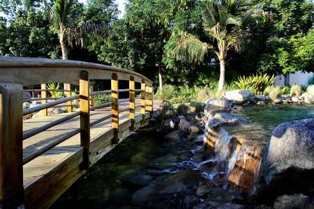 bridge in the garden Stock Photo