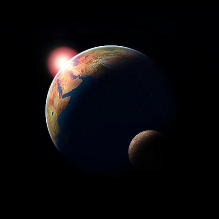 planet earth sun and moon ilustration cosmos sciene photo