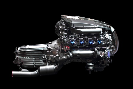 new car engine isolated on black background photo