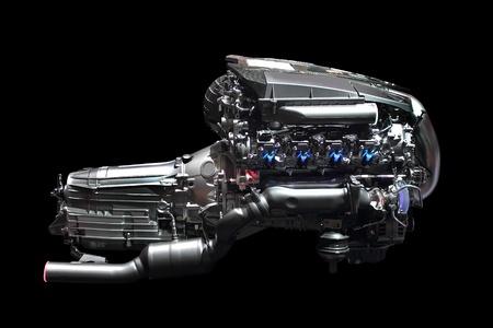 nieuwe auto motor geïsoleerd op zwarte achtergrond Stockfoto