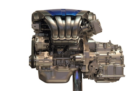 new car engine isolated on white background photo