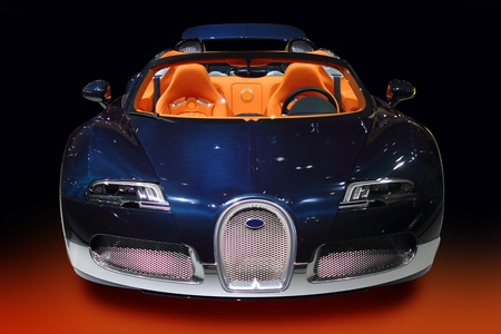 luxury sport car blue with orange interior