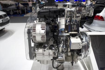 Dubai, UAE - NOVEMBER-14-2011: car engine chrome on display at the Dubai Motor Show, UAE.