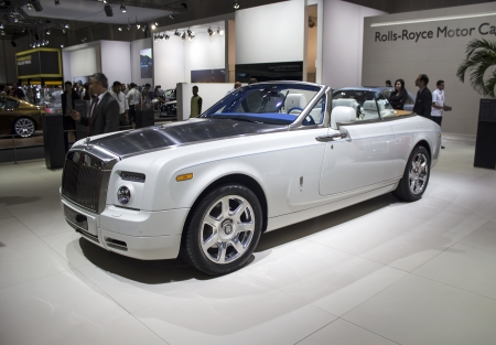 Dubai, UAE - NOVEMBER-14-2011: Rolls Royce Phantom Coupe white on display at the Dubai Motor Show, UAE.