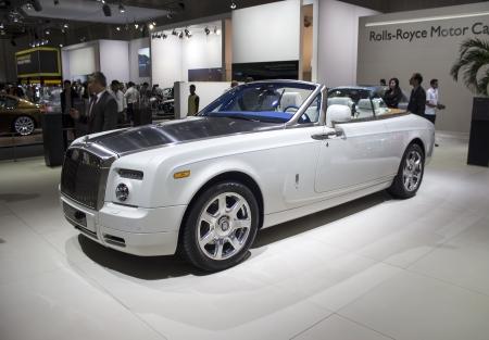 phantom: Dubai, UAE - NOVEMBER-14-2011: Rolls Royce Phantom Coupe white on display at the Dubai Motor Show, UAE.