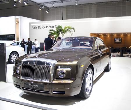 motor show: Dubai, UAE - NOVEMBER-14-2011: Rolls Royce Phantom Coupe on display at the Dubai Motor Show, UAE.