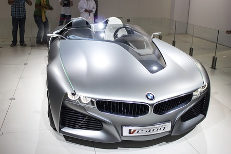 Dubai, UAE - NOVEMBER-14-2011: BMW conected drive Vision front view on display at the Dubai Motor Show, UAE.