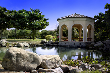 pavilion in the garden Stock Photo