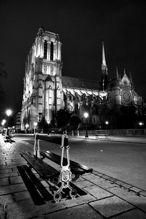 notredam de pari 's nachts, zwart en wit