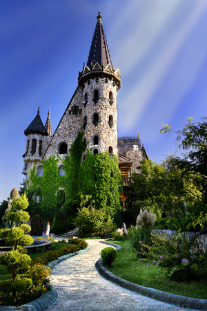 fairytale castle with mistik sunlight