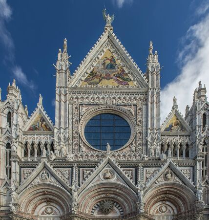 close up view of Santa Maria catedral in siena, toscana, italy Stock Photo