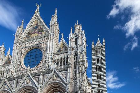 Cathedral Santa Maria Assunta in Siena, Italy, front, close-up view