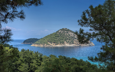 Island in the sea, areal view from mountain Stock Photo