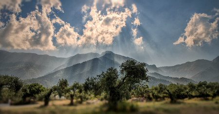 Sun rays over the mountain, pnoramic view