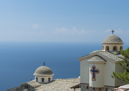 Greek chrch with see view on the mountain