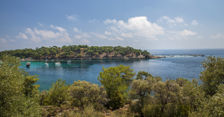 yachts in the seashore island, turqoase water, panoramic view