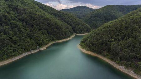 lake in the mountain bird eye view, drone photography