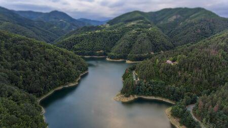 lake in the mountain bird eye view