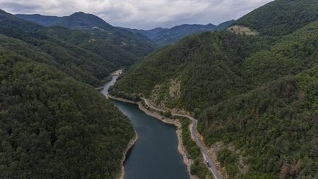 river in the mountain, drone photography Stock Photo