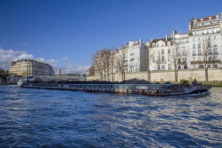 Boat platform on sena river in Paris, france Editorial