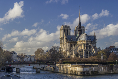 Paris, Notre Dame cathedral areal view