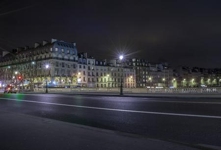 empty street at night in Paris, France Stock Photo
